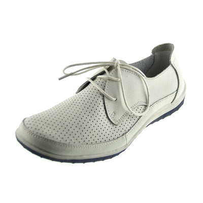 Morden Perforated Sporty Lace up Leather Comfort Loafers - White