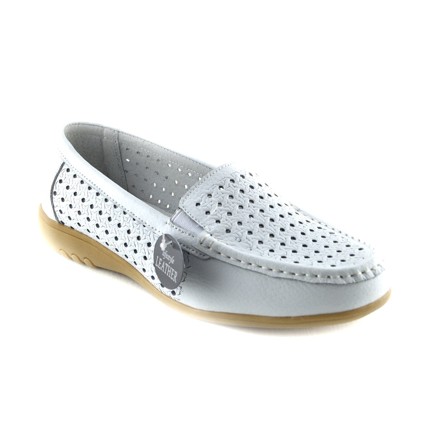Ladies Women Office Formal Flat Shoes Walk Away Upper Real Leather Smart Shoes - White