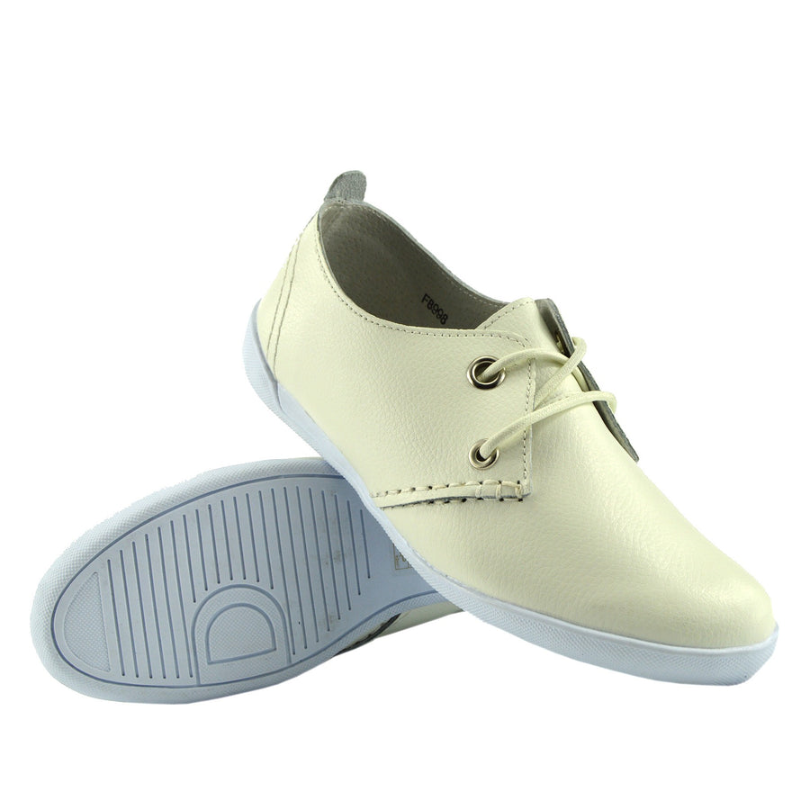 Ladies Sport Lace-up Flat Shoes Walk Away Upper Real Leather Smart Shoes - White F8998