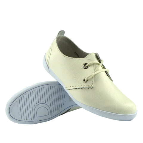 Sporty Lace up Leather Comfort Loafers - Off White