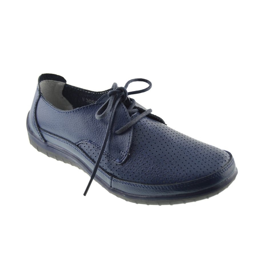 Morden Perforated Sporty Lace up Leather Comfort Loafers - Navy