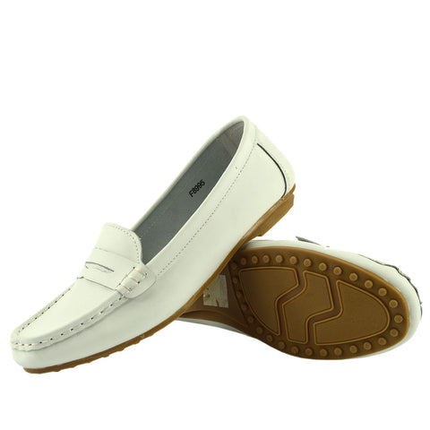 Slip on Leather Classic Moccasin Pumps - White
