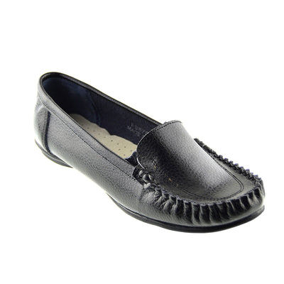 Hunton Slip on Leather Moccasin Pumps - Black