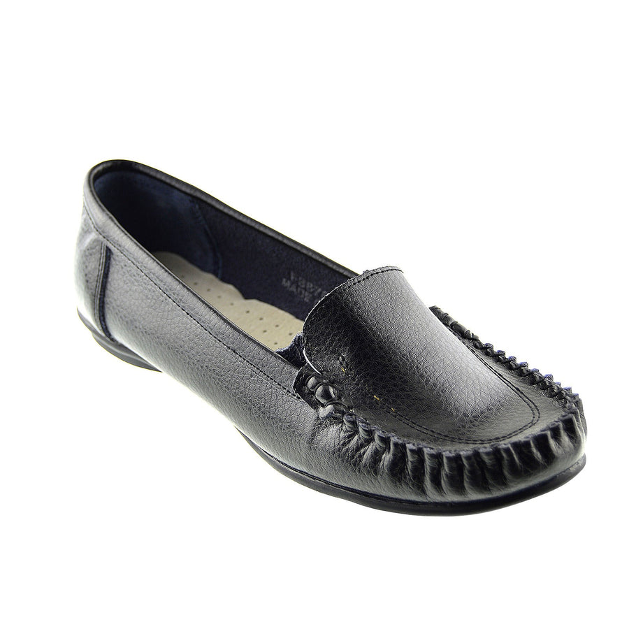 Ladies Sport Lace-up Flat Shoes Walk Away Upper Real Leather Smart Shoes - Black F8876