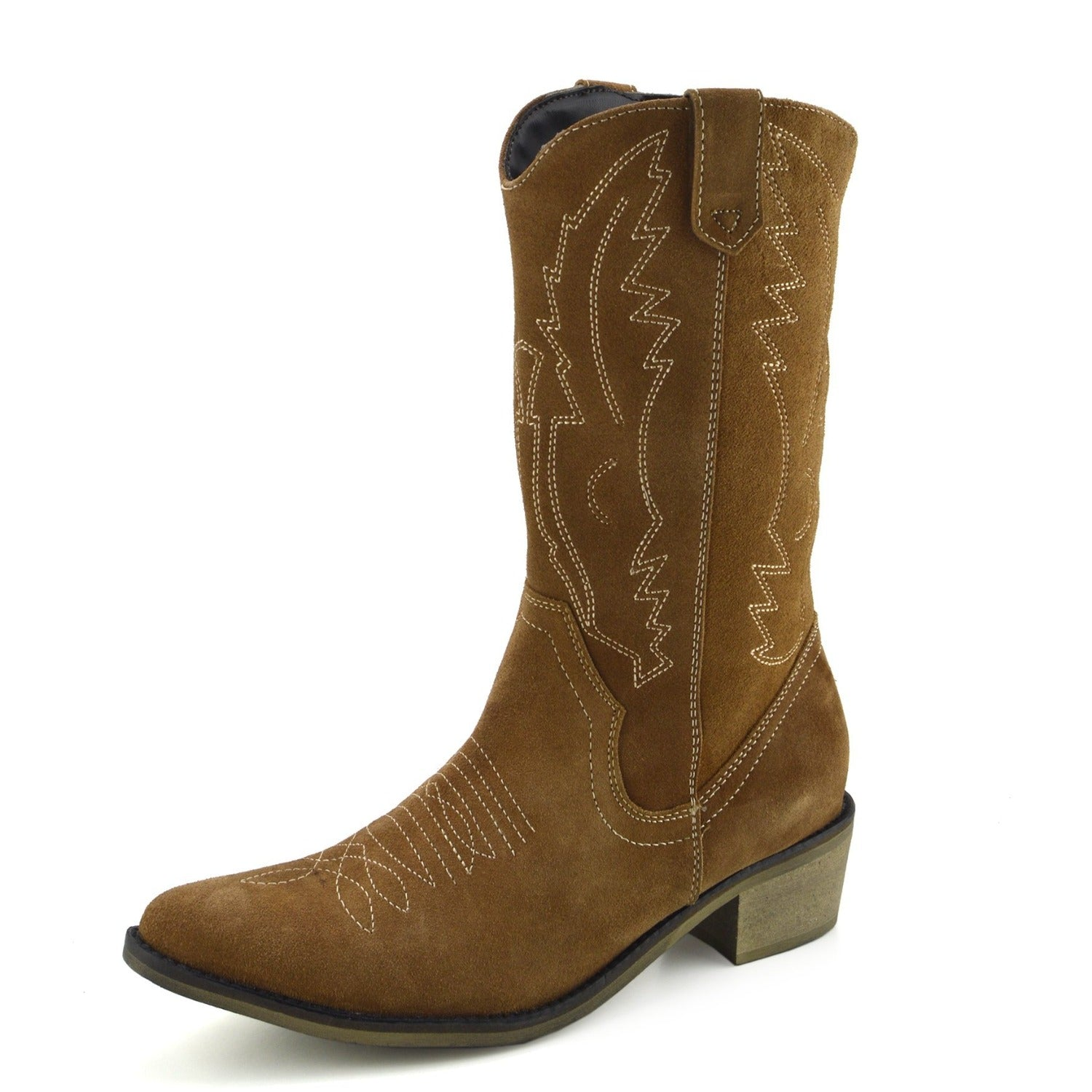 3853c64e0c6 Kitty Western Leather Cowboy Boots - Tan Suede