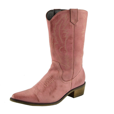 ladies Pink Leather Cowboy Boots Pointed Toe Western Design
