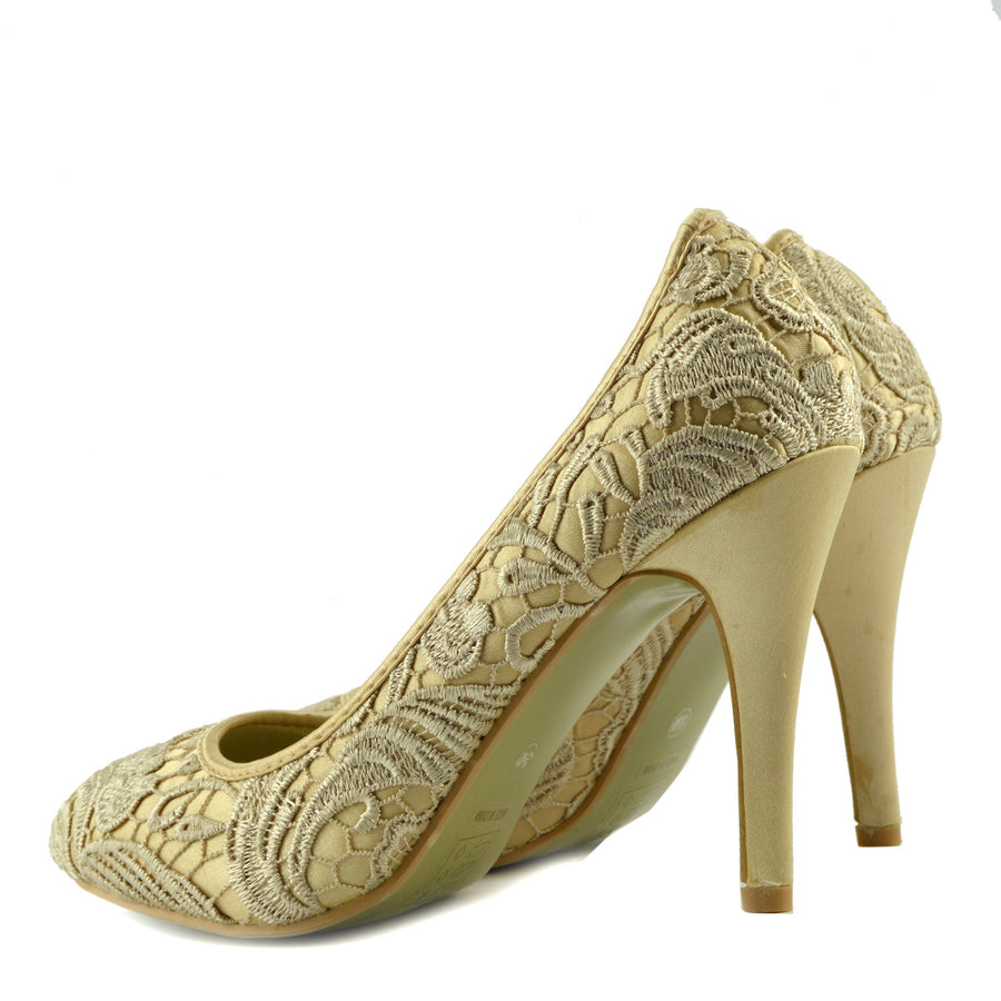 Ladies Wedding Bridesmaid High Heel Women's Party Court Shoes - Gold