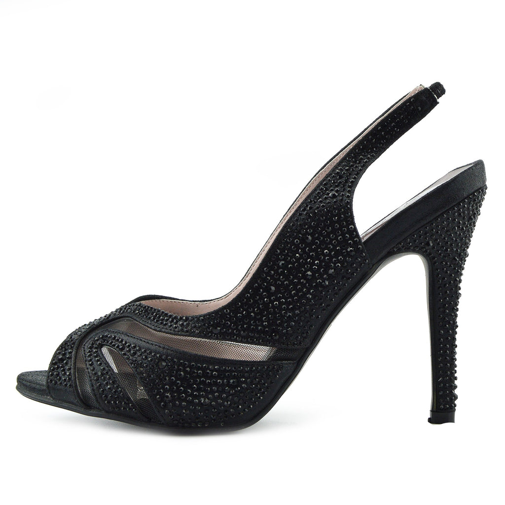 Cut out Mesh Party Slingbacks - Black