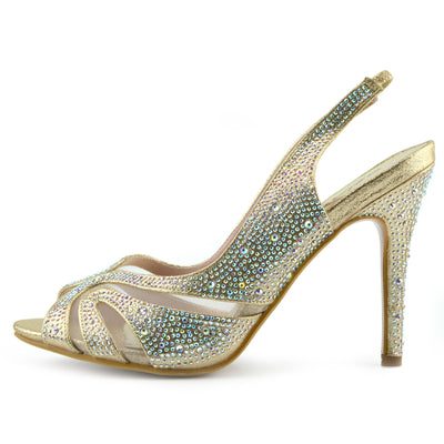 Ladies new kitten heel diamante sandal, party sandal,prom shoe, wedding low heel - GOLD-S160207