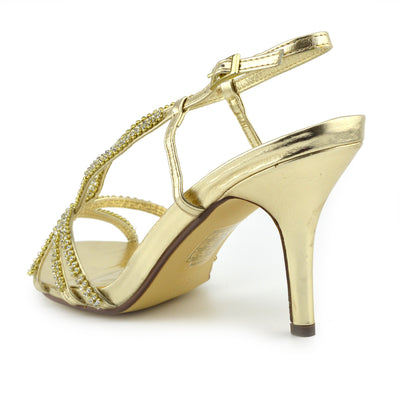 Ladies new kitten heel diamante sandal, party sandal,prom shoe, wedding low heel - Gold - F10284