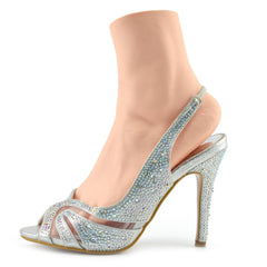 Cut out Mesh Party Slingbacks - Silver