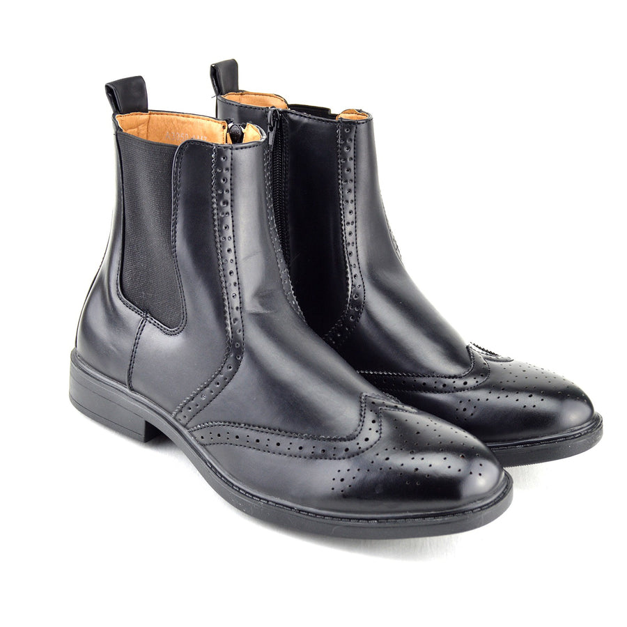 Dudley Leather Ankle Chelsea Dealer Boots - Black