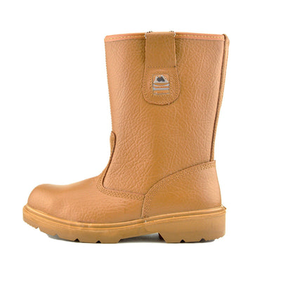 Mens Groundwork Steel Toe Safety Pull On Boots  Long Dealer Boots - Honey