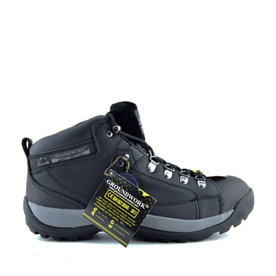Groundwork Unisex Grey Trim Safety Boots - Black