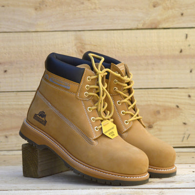 Groundwork Classic High Ankle Work Safety Boots - Tan