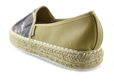 Snake Flatform Espadrilles Summer Holiday Shoes - Beige