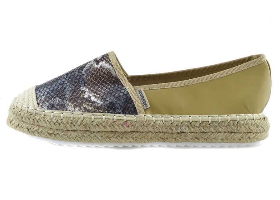 Ladies Flat Sandals Espadrilles Summer Holiday Shoes - Beige