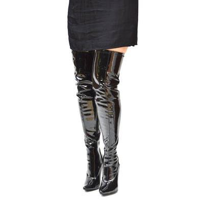 Womens Black Knee High High Lace Up Back Boots - Black Patent