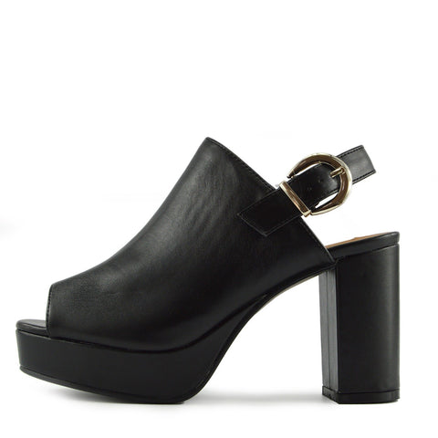 Chunky 90's Platfform Slingbacks - Black