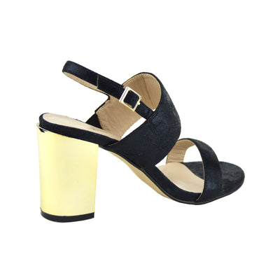 Womens Ladies New Mid Gold Block Heel Party Sandals Ankle Strappy Wedding Shoes - Black