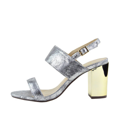 Womens Ladies New Mid Gold Block Heel Party Sandals Ankle Strappy Wedding Shoes - Silver