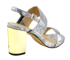 Block Metallic Wide Strap Party Sandals - Silver