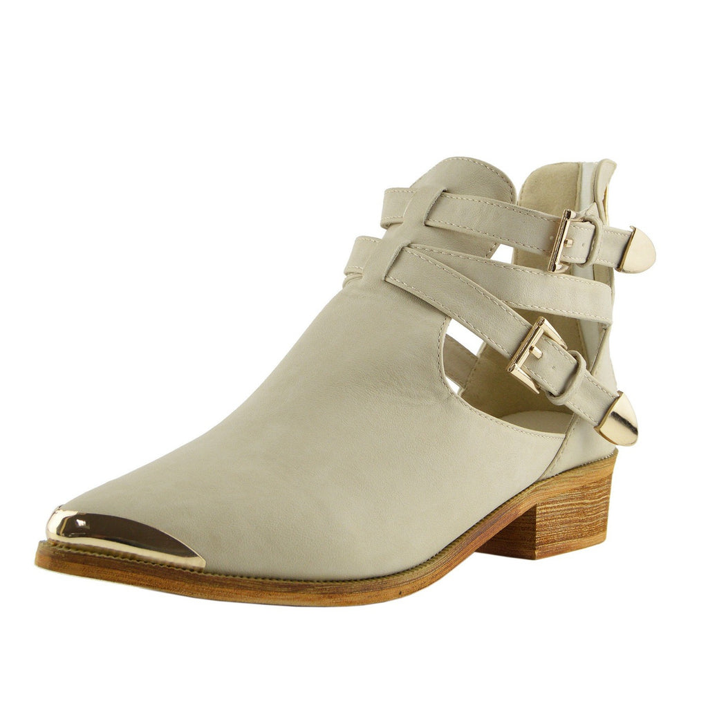 Portland Cross Buckle Cut Out Chelsea Boots - Beige