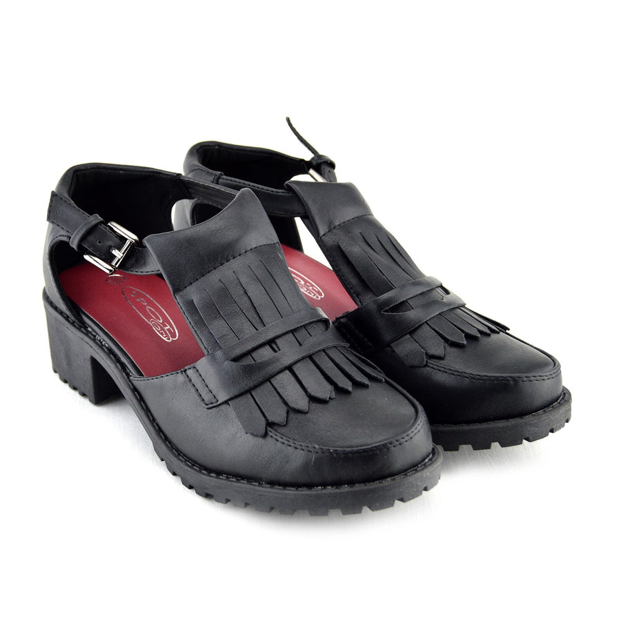 Womens Casual Block Low Heel Shoes - Black