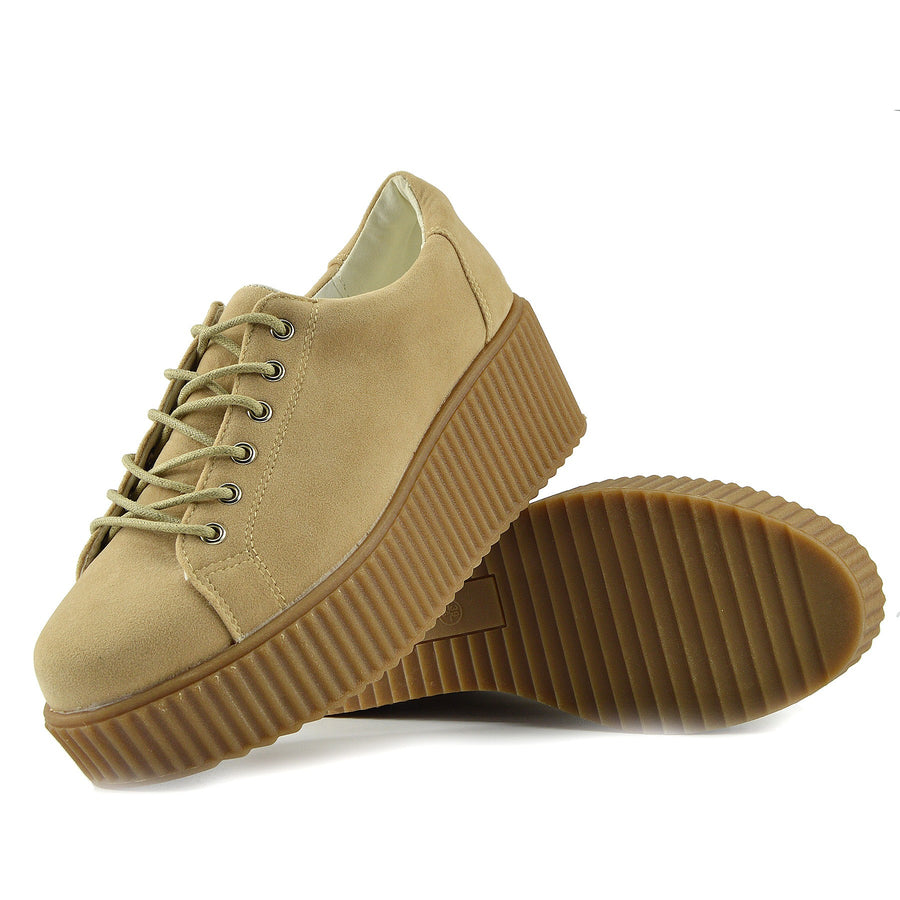 Womens Chunky Platform Sole Lace Up Skater Trainers Shoes - Nude - Dino