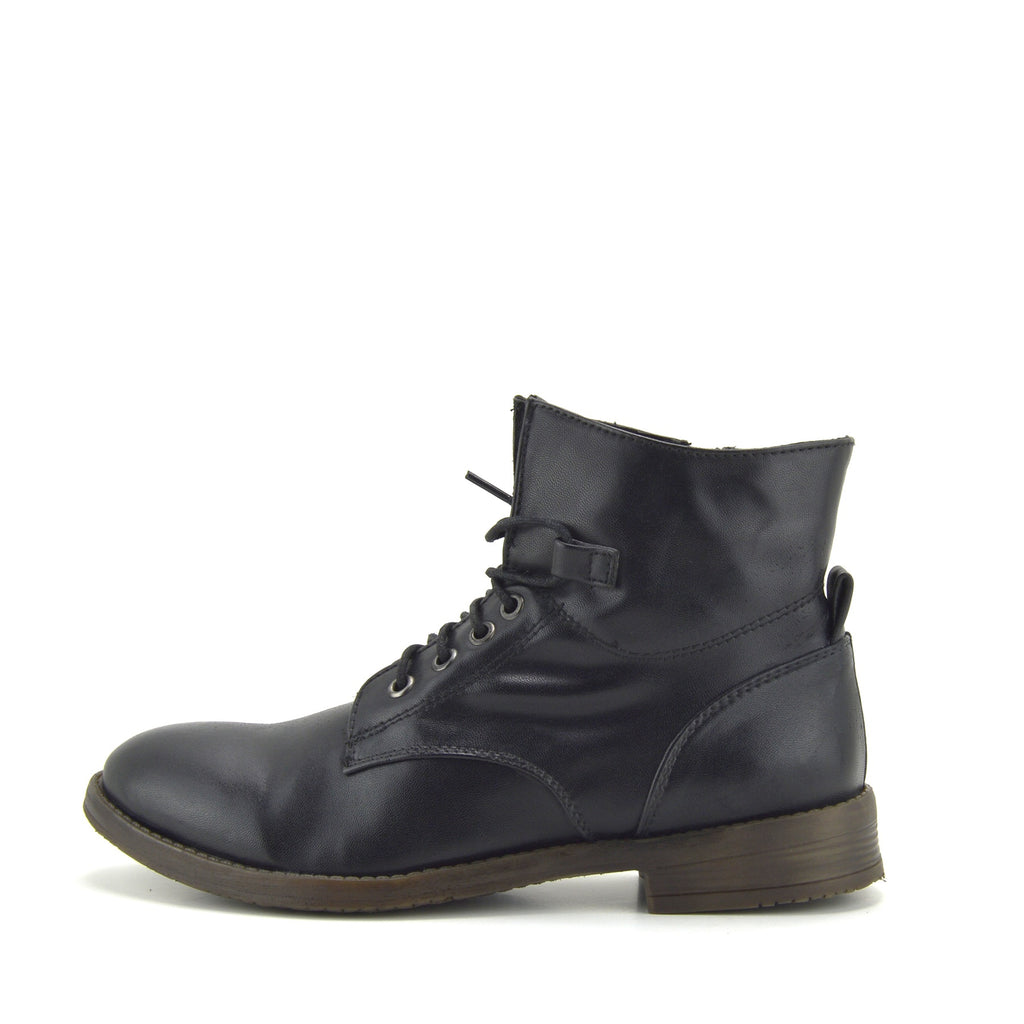 Park Combat Ankle Lace Up Flat Boots - Black Premium