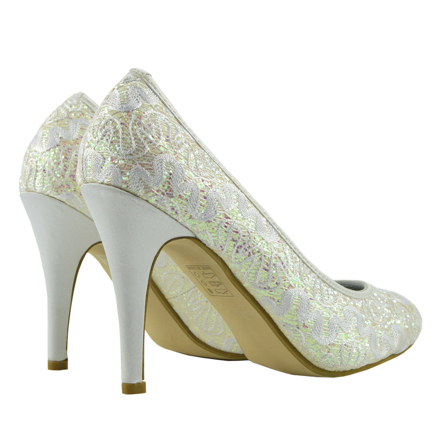 Carter All Over Glitter Court Shoes  - White