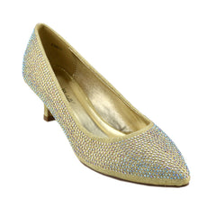 Low Heel Sparkle Pointed Kitten Shoes - Gold