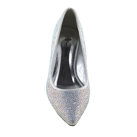 Low Heel Sparkle Pointed Kitten Shoes - Silver