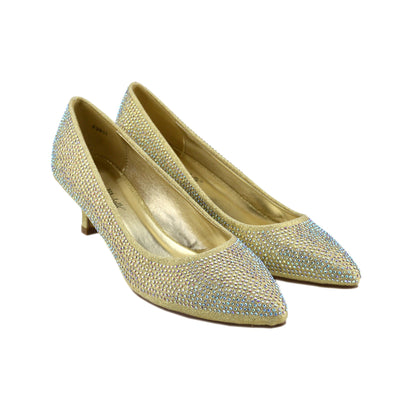 Womens Court Heel Diamante Wedding Shoes Ladies Party, Glitter Shoes - Gold