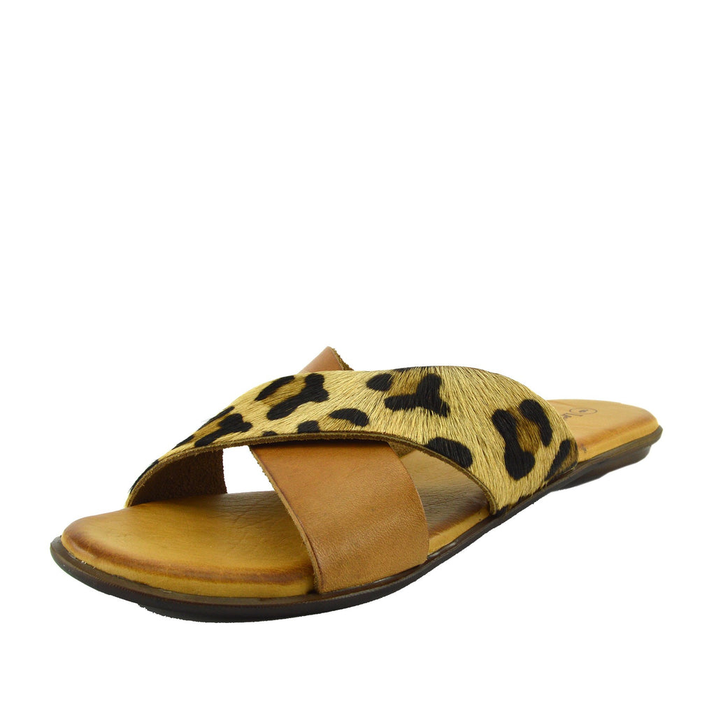 Leather Cross Strap Contrast Sandals - Leopard