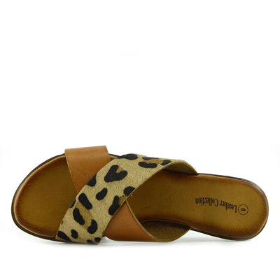 Womens Fashion Summer Beach Flip Flops Sandals Natural Leather Shoes - Leopard