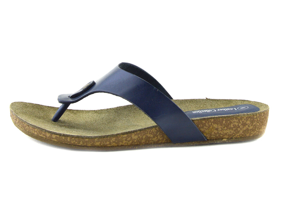 Womens Fashion Summer Beach Flip Flops Sandals Natural Leather Shoes - Navy