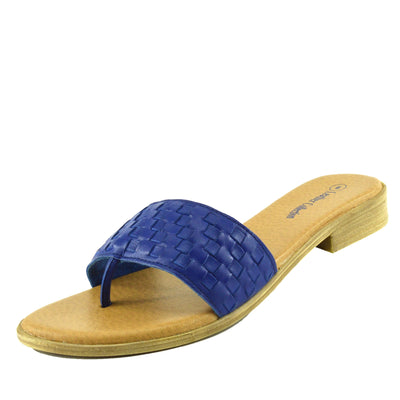 Womens Fashion Summer Beach Flip Flops Sandals Natural Leather Shoes - Blue F931