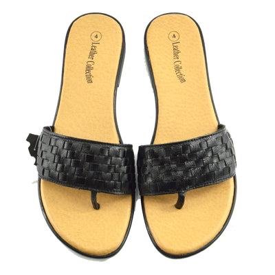Womens Fashion Summer Beach Flip Flops Sandals Natural Leather Shoes - Black F931