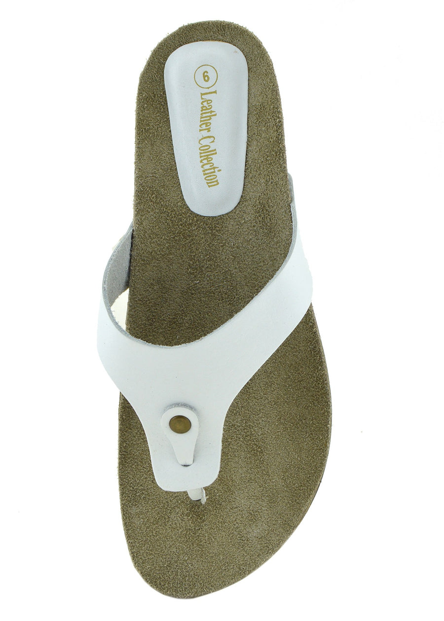 Womens Fashion Summer Beach Flip Flops Sandals Natural Leather Shoes - White