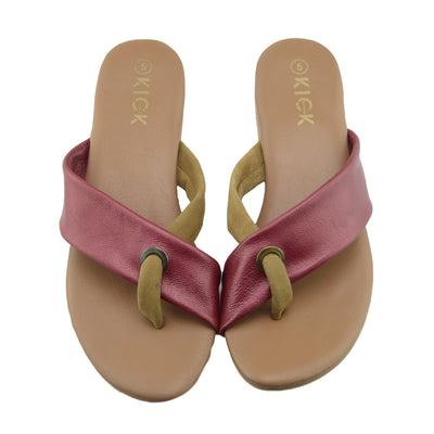 Womens Fashion Summer Beach Flip Flops Sandals Natural Leather Shoes - Red