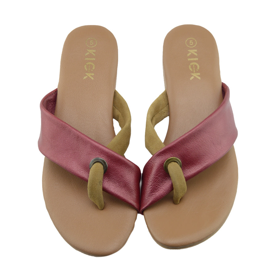 4c687b437c6 Womens Fashion Summer Beach Flip Flops Sandals Natural Leather Shoes - Red
