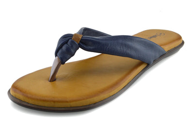 Womens Fashion Summer Beach Flip Flops Sandals Natural Leather Shoes - Navy-F0930