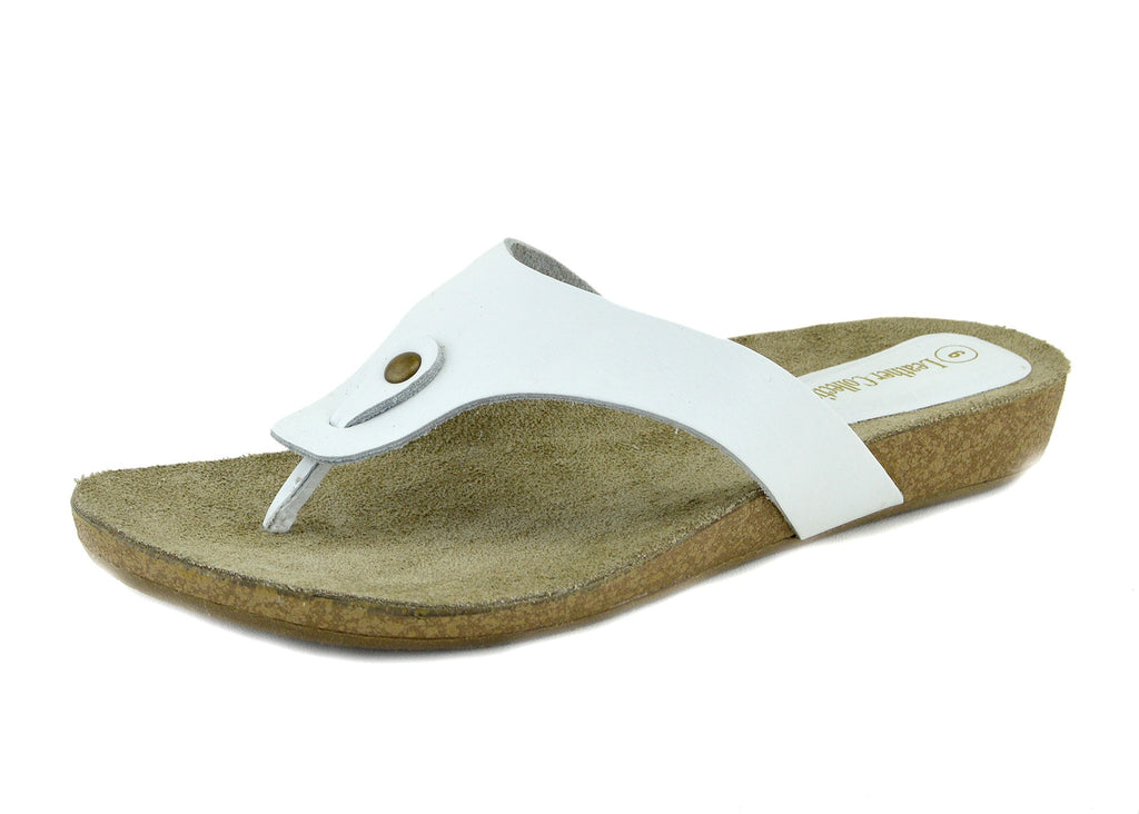 Natural Leather Comfort Sandals - White