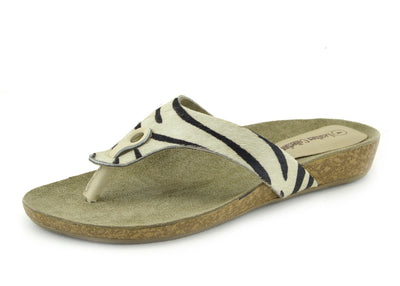 Womens Fashion Summer Beach Flip Flops Sandals Natural Leather Shoes - Black-White