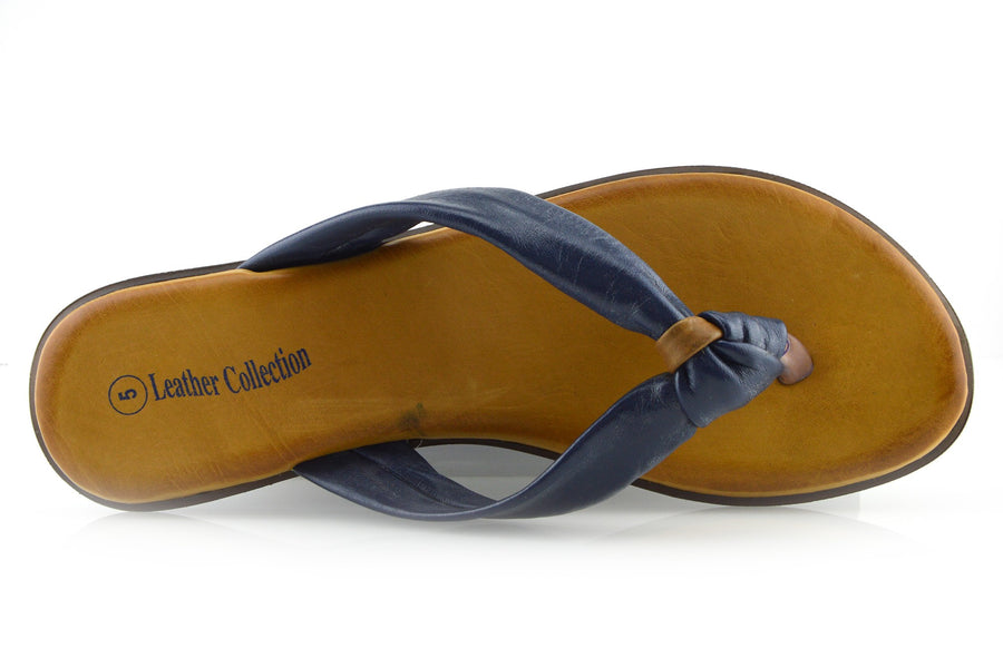 cab8178eb86941 Womens Fashion Summer Beach Flip Flops Sandals Natural Leather Shoes -  Navy-F0930