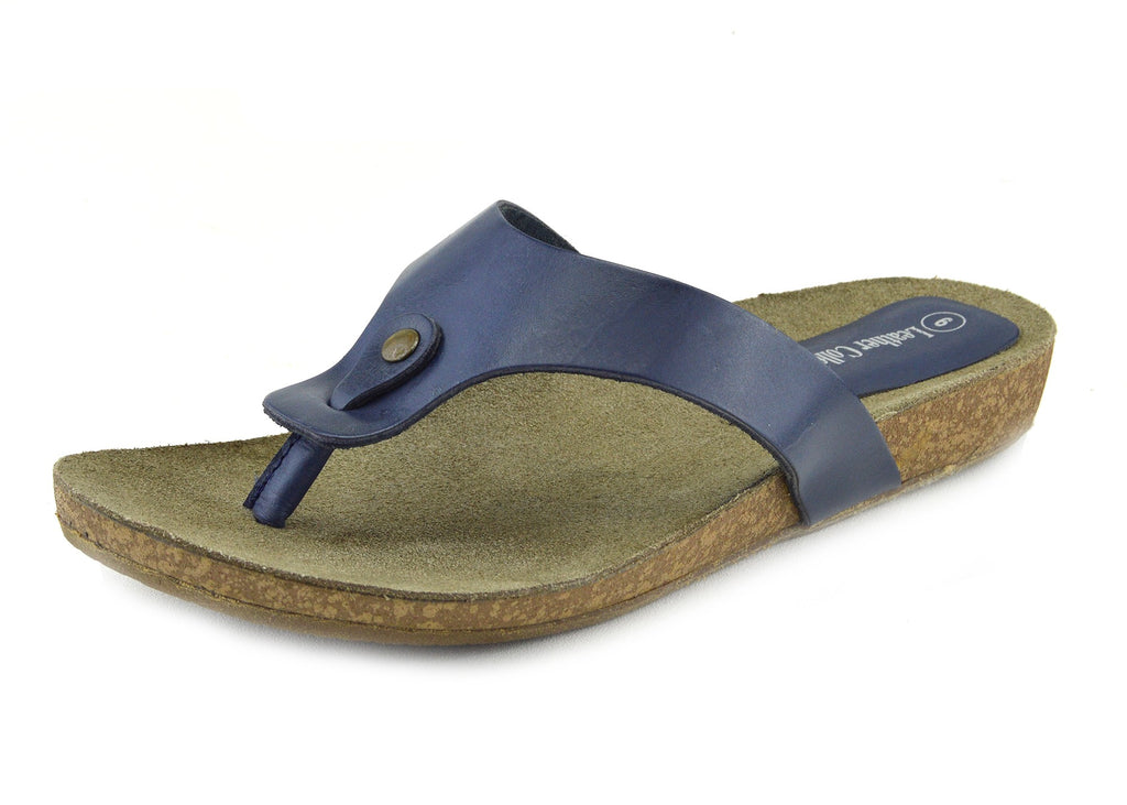Natural Leather Comfort Sandals - Navy