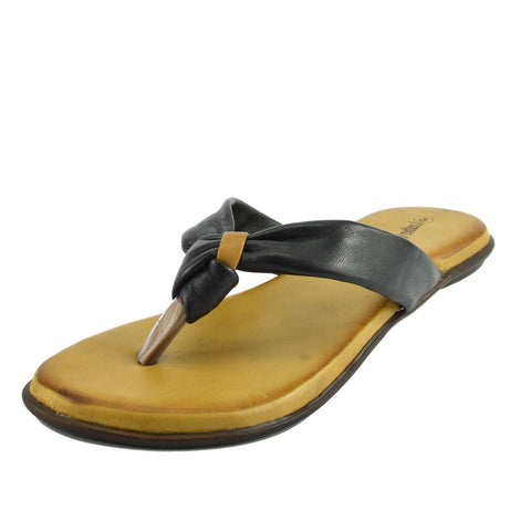 Leather Summer Flip Flops - Black F0930