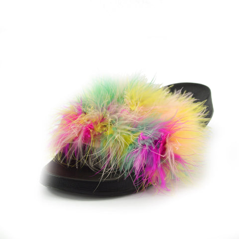 fluffy flip flop slippers black