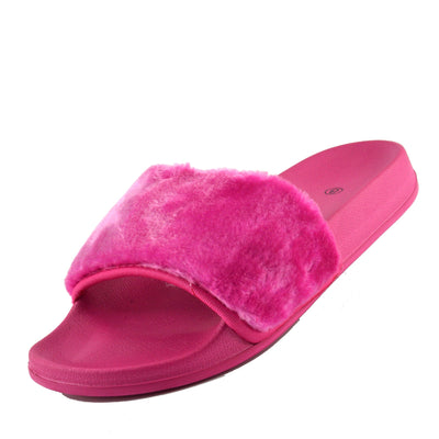 NEW WOMENS SLIP ON FLAT FARRAH RUBBER SLIDER MULES FUR SLIPPER SANDALS SHOES - Black Pom Pom